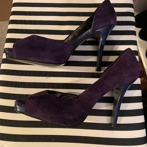 Jessica Simpson Purple Navy Peep Toe Heel 10